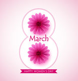 Happy woman day vector greeting design with beautiful pink flowers Royalty Free Stock Image