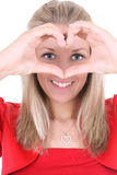 Happy woman depicts  the heart Royalty Free Stock Photo