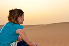Happy woman in desert Royalty Free Stock Photography