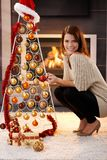 Happy woman with design christmas tree Royalty Free Stock Photo