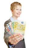 Happy woman with different Euro money banknotes Stock Photography