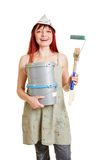 Woman with paint bucket and brush Royalty Free Stock Photos