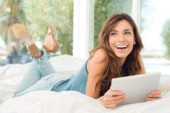 Happy Woman With Digital Tablet Stock Photography