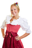 Happy woman in a dirndl Stock Photos