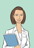 Happy woman doctor with folder. Vector illustration of Happy woman doctor with folder. Easy-edit layered vector EPS10 file scalable to any size without quality Stock Photos
