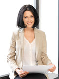 Happy woman with documents. Bright picture of happy woman with documents royalty free stock photos