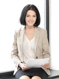 Happy woman with documents Stock Photo