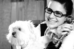 Happy woman and dog Royalty Free Stock Photo