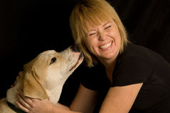 Happy woman and dog. Happy woman petting rescued labrador retriever mix dog stock photos