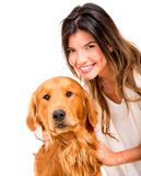 Happy woman with a dog Stock Image