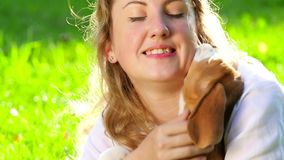 Happy woman with a dog beagle playing on nature stock video