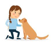 Happy woman with dog. Lady sitting playing and teaching her pet. Vector illustration vector illustration