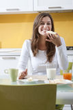 Happy Woman Doing Breakfast Stock Photos