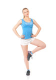 Happy woman doing fitness exercise Royalty Free Stock Photo
