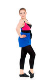 Happy woman doing fitness exercise Stock Images
