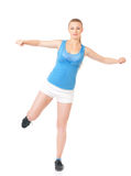 Happy woman doing fitness exercise Stock Photography