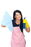 Happy woman doing housework. Happy brunette woman with pink apron holding spray and duster and preparing to cleaning house isolated on white background royalty free stock image
