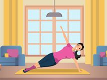 Happy Woman Doing Morning Fitness Sport Workout stock illustration