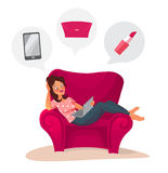 Happy woman doing online shopping at home Royalty Free Stock Image