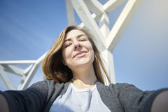 Happy woman doing selfie outdoor royalty free stock photos