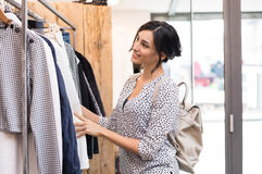 Happy woman doing shopping Royalty Free Stock Image