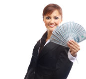 Happy woman with dollars Stock Photo