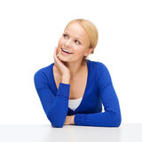 Happy woman dreaming and laughing Stock Images