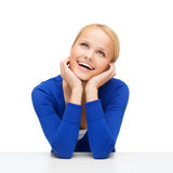 Happy woman dreaming and laughing Royalty Free Stock Photography