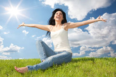 Free Happy Woman Dreams To Fly On Winds Stock Images - 29689174