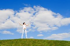 Free Happy Woman Dreams To Fly On Winds Royalty Free Stock Photo - 5710575