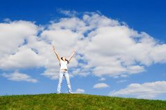 Free Happy Woman Dreams To Fly On Winds Stock Image - 9461761