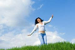 Free Happy Woman Dreams To Fly On Winds Royalty Free Stock Photos - 9745128