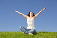 Happy woman dreams to fly on winds Royalty Free Stock Images