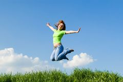 Happy woman dreams to fly on winds Stock Photo