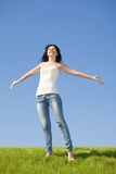 Happy woman dreams to fly on winds Royalty Free Stock Image