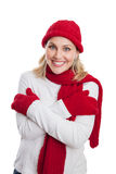Happy woman dressed in winter clothing Royalty Free Stock Images