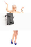 Happy woman dressing up Stock Photography