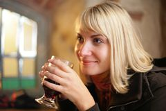 Happy woman drink Royalty Free Stock Photography