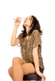 Happy woman drinking champagne Royalty Free Stock Photos