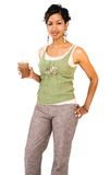 Happy woman drinking chocolate shake Royalty Free Stock Images
