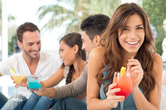 Happy Woman Drinking Cocktail Royalty Free Stock Images
