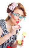 Happy woman drinking juice or cocktail Royalty Free Stock Photo