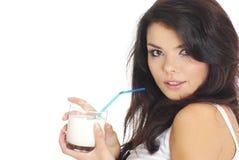 Happy woman drinking milk Royalty Free Stock Image