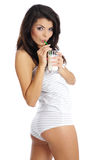 Happy woman drinking milk Royalty Free Stock Images