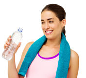 Happy Woman Drinking Water After Workout Stock Photos
