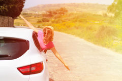 Happy woman driver in the car Royalty Free Stock Photos