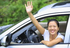 Happy woman driver royalty free stock photos