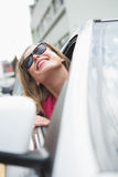 Happy woman in the drivers seat Royalty Free Stock Image