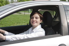 Happy woman driving Royalty Free Stock Photos