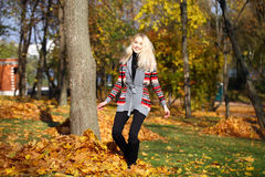 Happy woman drop up leaves in autumn park. Portrait close up of young beautiful woman, on background autumn park Royalty Free Stock Images